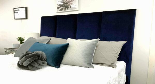 panelled velvet bedhead